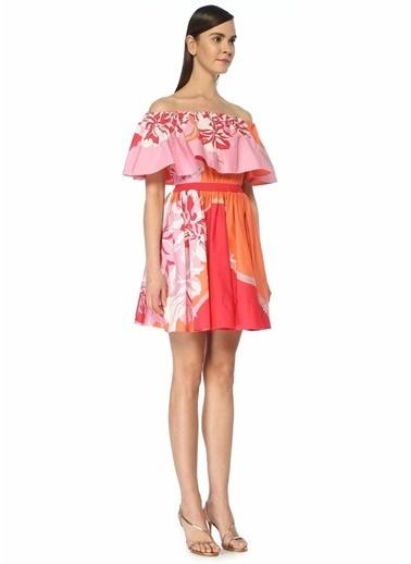 Emilio Pucci Emilio Pucci  Düşük Omuzlu Çiçekli Volanlı Mini Elbise 101480838 Bej